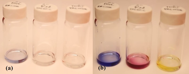Photochromatic Ink (a) Before and (b) After UV Exposure