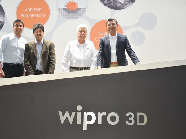 Chairman Azim Premji, Head of Wipro3D Ajay Parikh & CEO of Wipro Infrastructure Engineering Pratik Kumar at the launch of metal 3D printing solution and experience centre