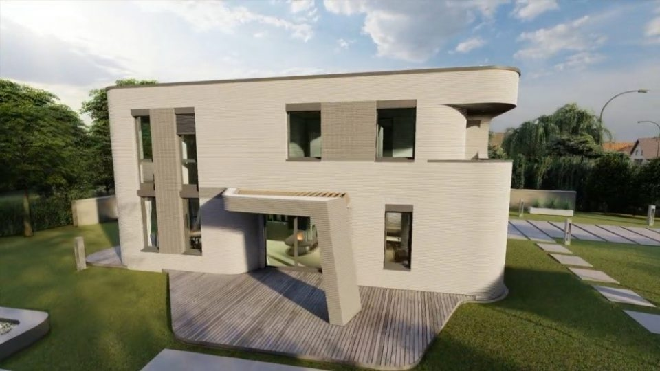 Rendering of the two-story building to be 3D printed in Beckum